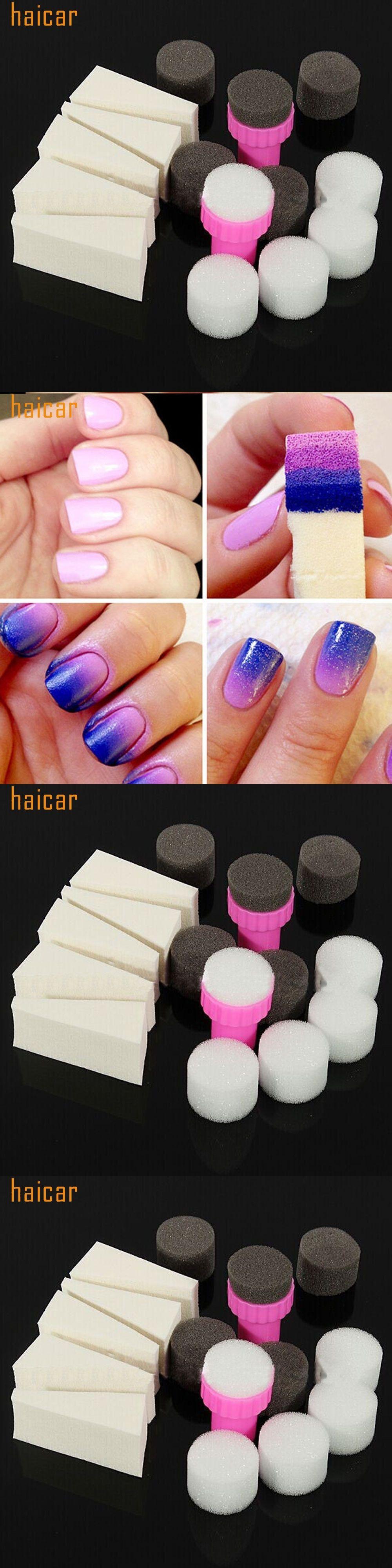 Haicar Love Beauty Female 1 Set Diy Nail Art Sponge Stamp Gradient