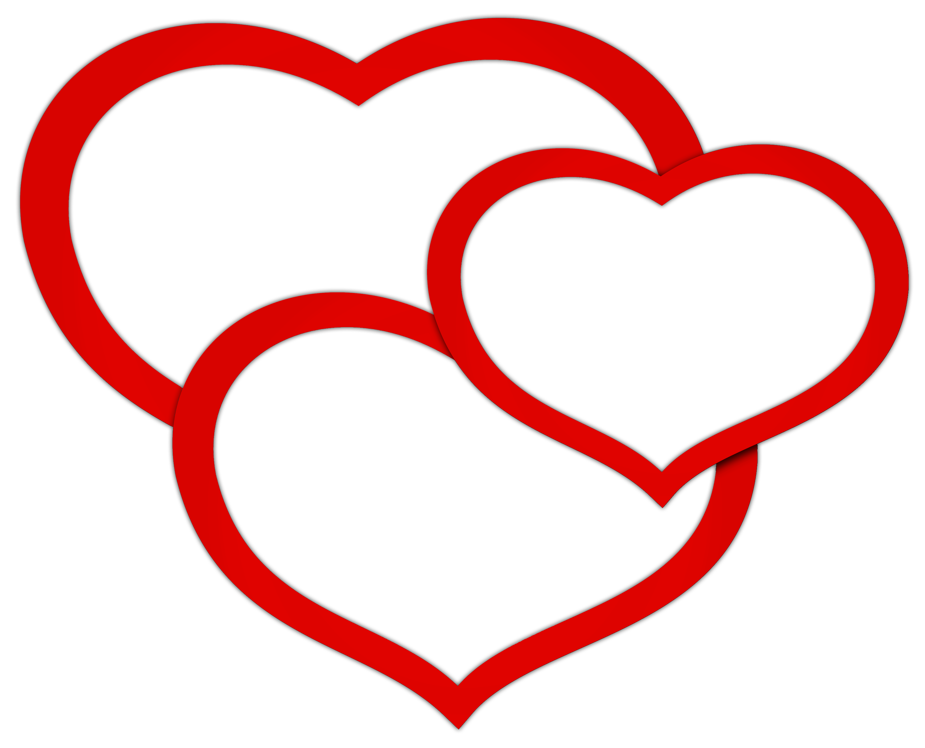 Transparent Red Triple Hearts PNG Clipart Picture Rotes