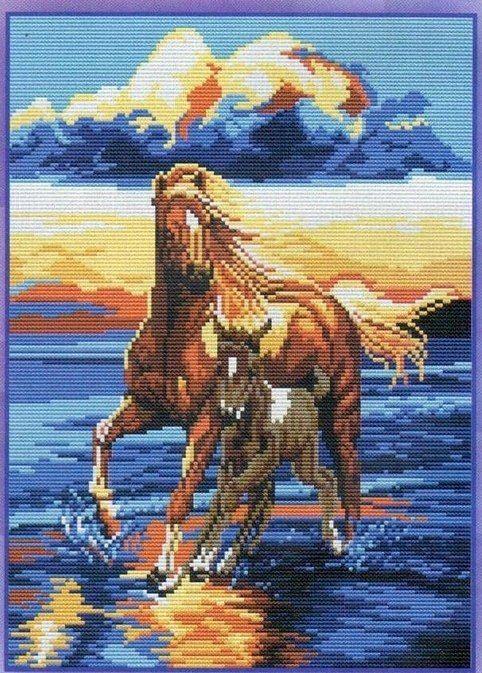 схемы лошадей вышивка коней крестом