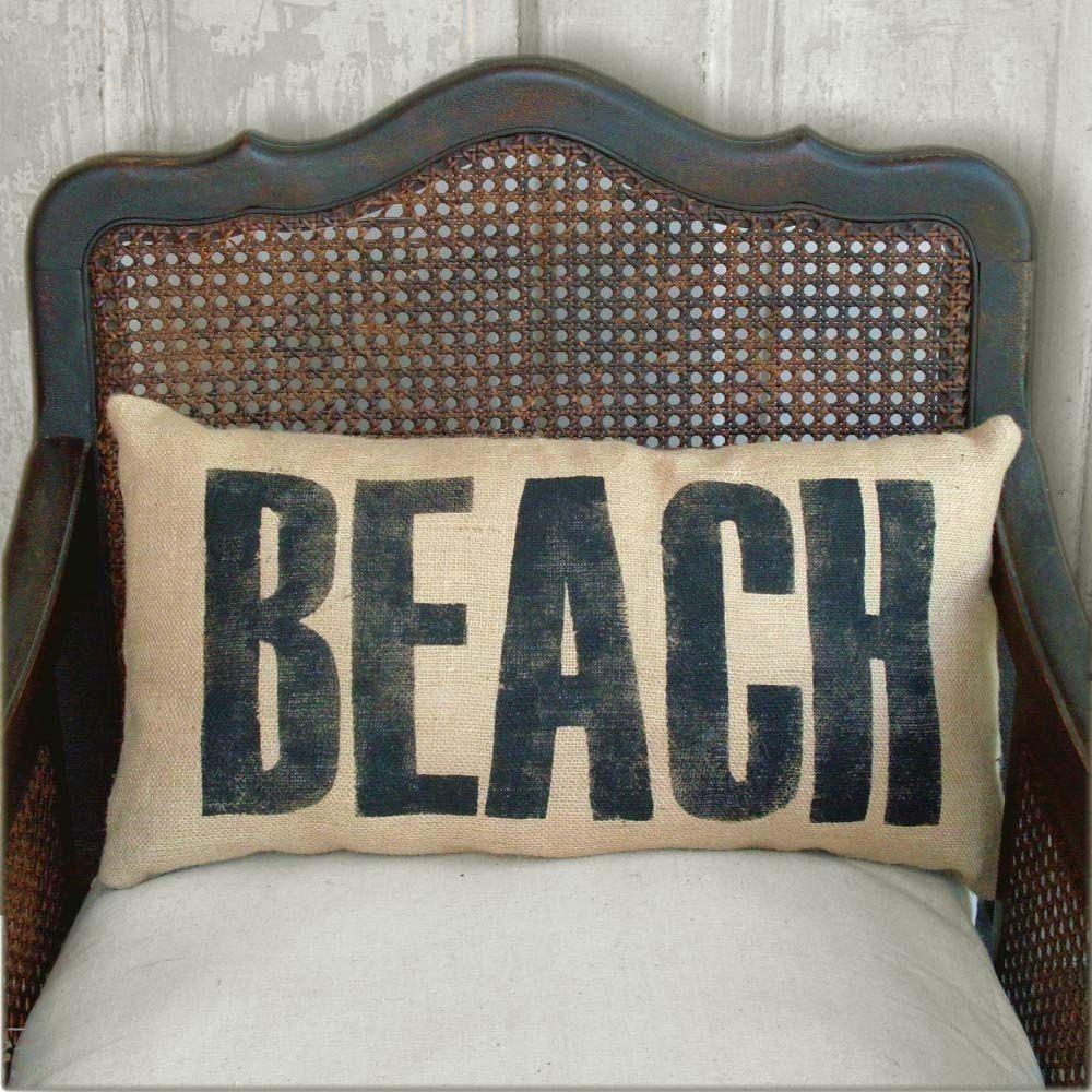 Beach burlap pillow beach pillow beach by nextdoortoheaven