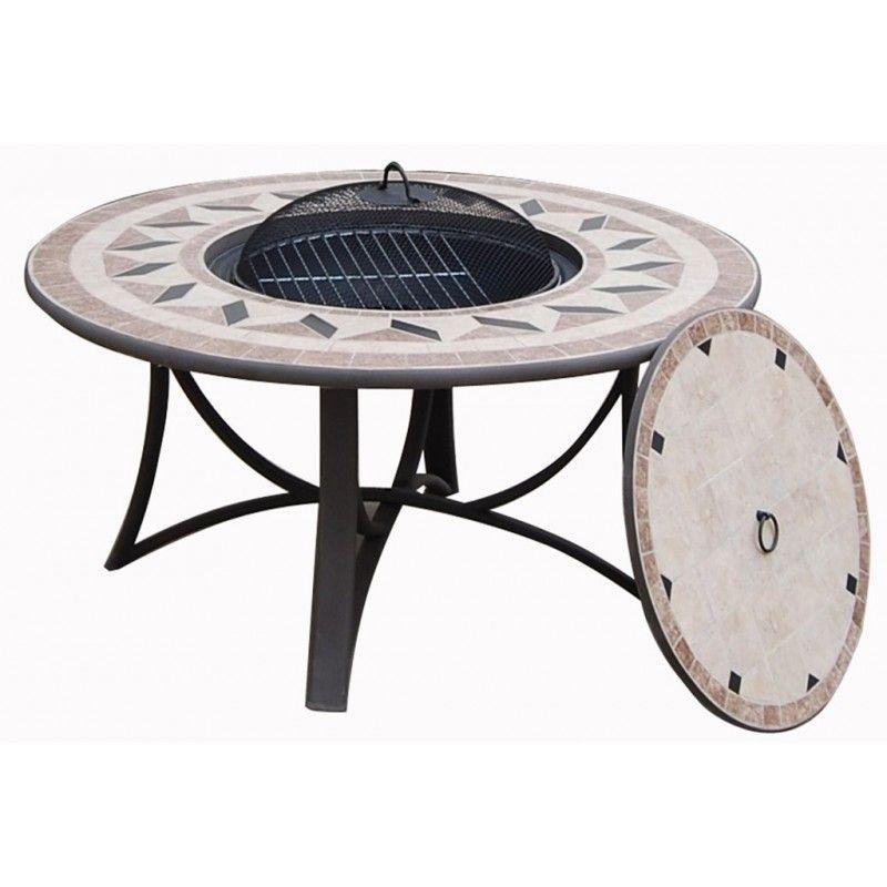 Salon de jardin table basse ronde + 4 chaises FILAE aspect fer forgé ...