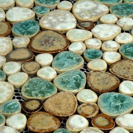 Glazed Porcelain Pebble Tile Backsplash