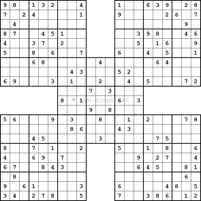 photograph regarding Mega Sudoku Printable titled Samurai Sudoku absolutely free! Just about every Tuesday and every single Saay a