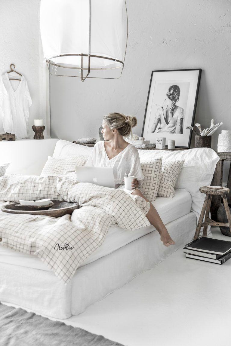 Magic Linen Beddings Charcoal Grid 9 Portfolio Paulina