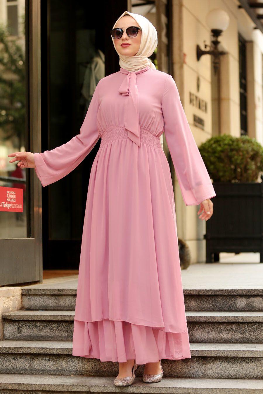 Nayla Collection Fiyonklu Pembe Tesettur Elbise 5006p The Dress Elbise Modelleri Elbise