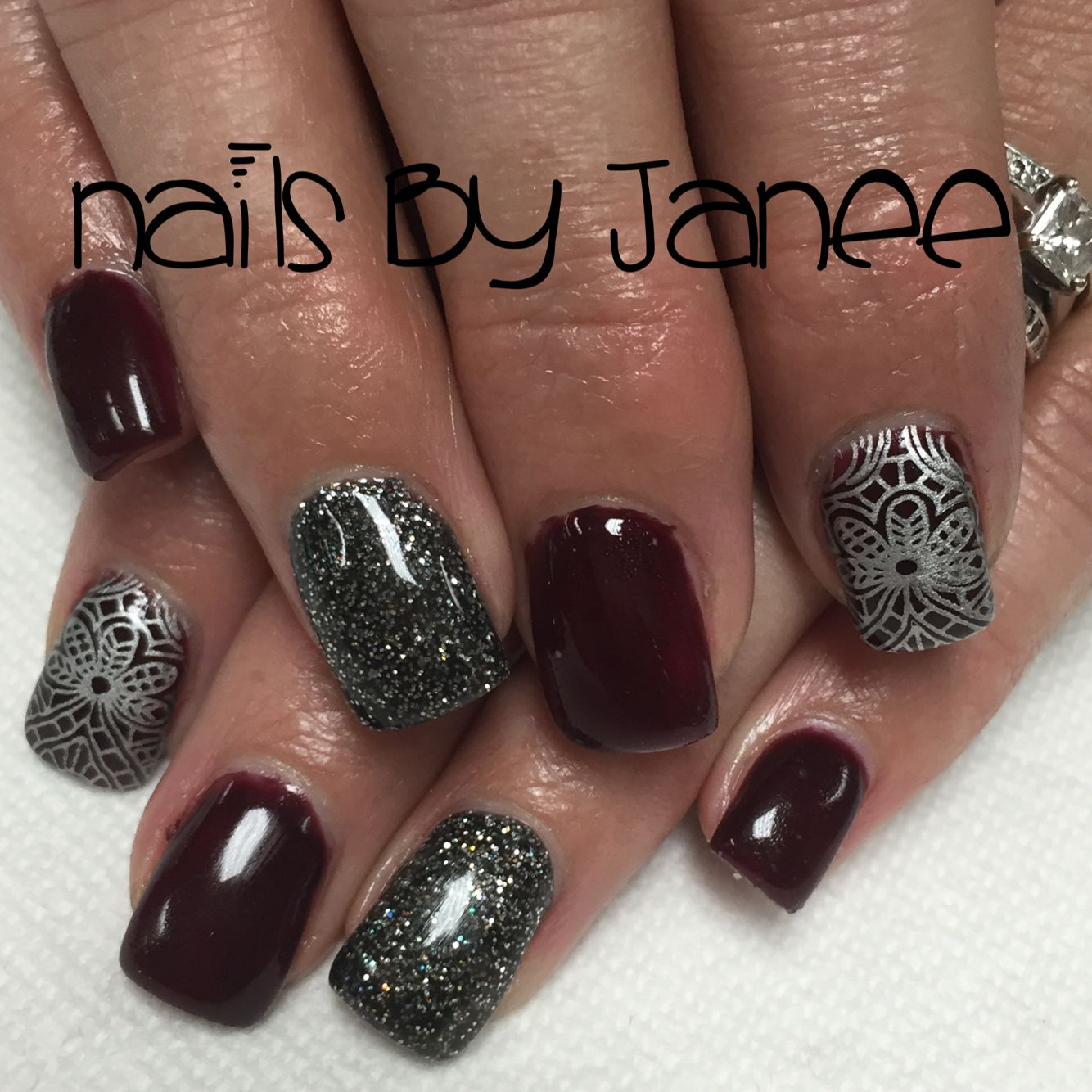Wine and silver glitter and lace gel nail by Janee. A Wild Hair ...