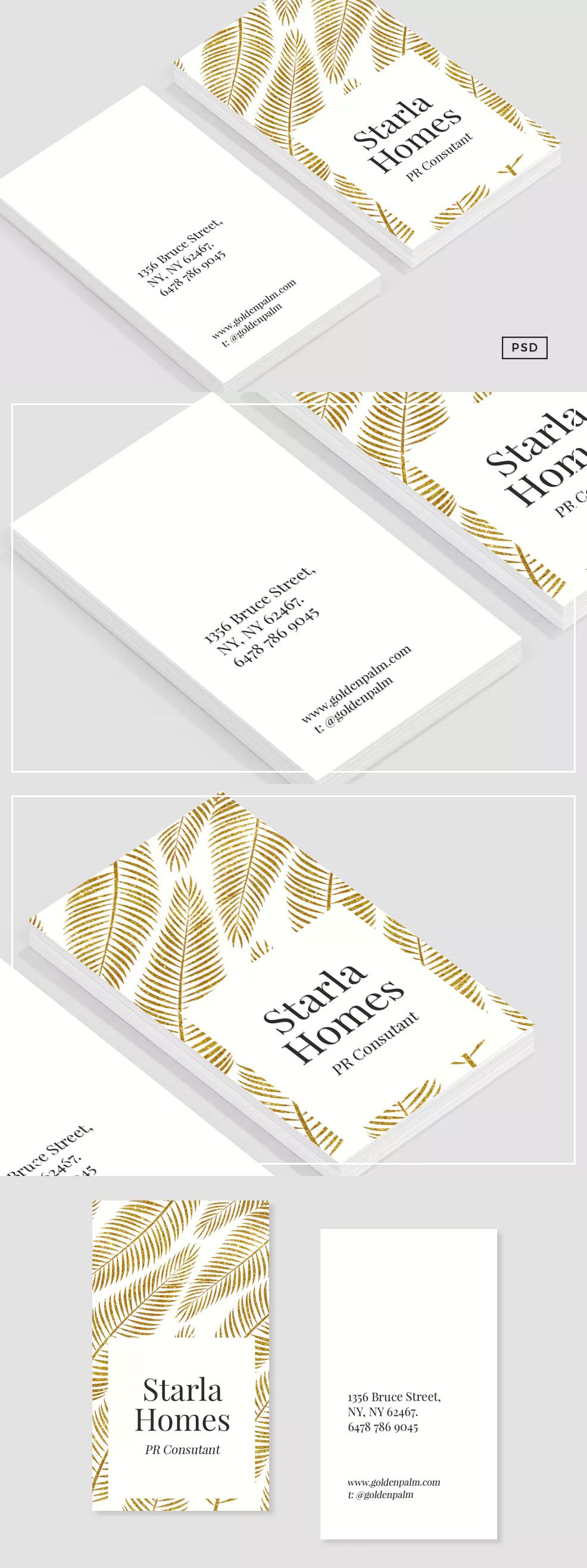Golden Palm Business Card Template By 83oranges On Envato Elements Business Card Template Business Card Template Psd Business Cards