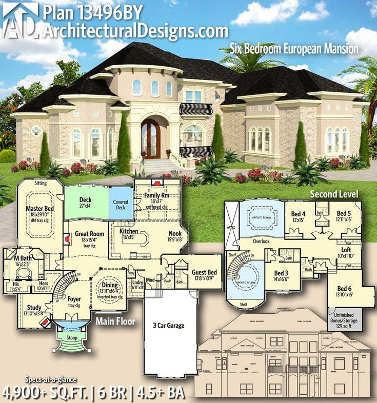 Architectural Designs Home Plan 13496by Gives You 6 Bedrooms 4 5 Baths And 4 900 Sq Ft Ready Whe House Plans Mansion Luxury House Plans Mansion Floor Plan
