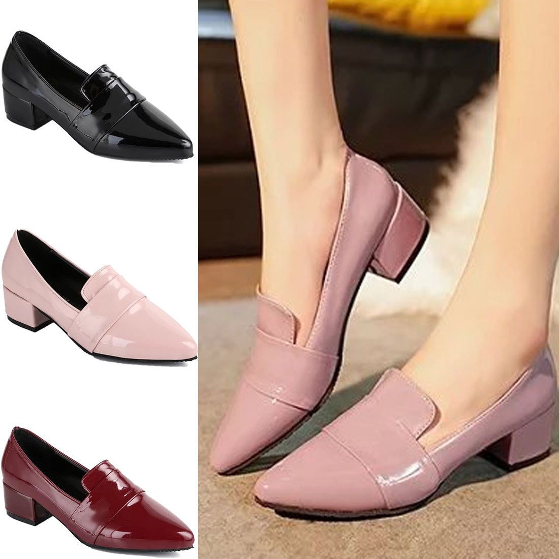Plus Sz Womens Birtish Cuban Heel Pointy toe Patent Leather Shoes OL Work Loafer
