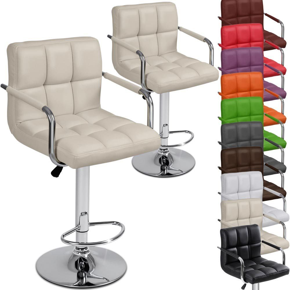 Miadomodo Lbhk03 Two Faux Leather Bar Stools With Armrest Diffe Colours Beige Co Uk Kitchen Home