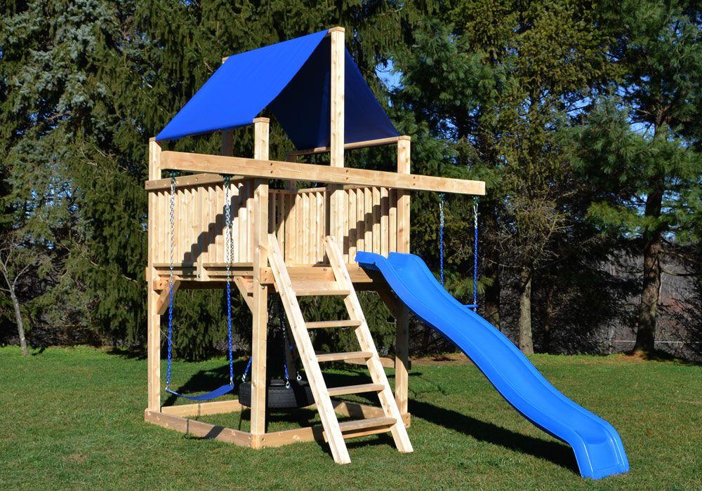 Cedar Swing Sets - The Bailey Space Saver | Backyard play ...