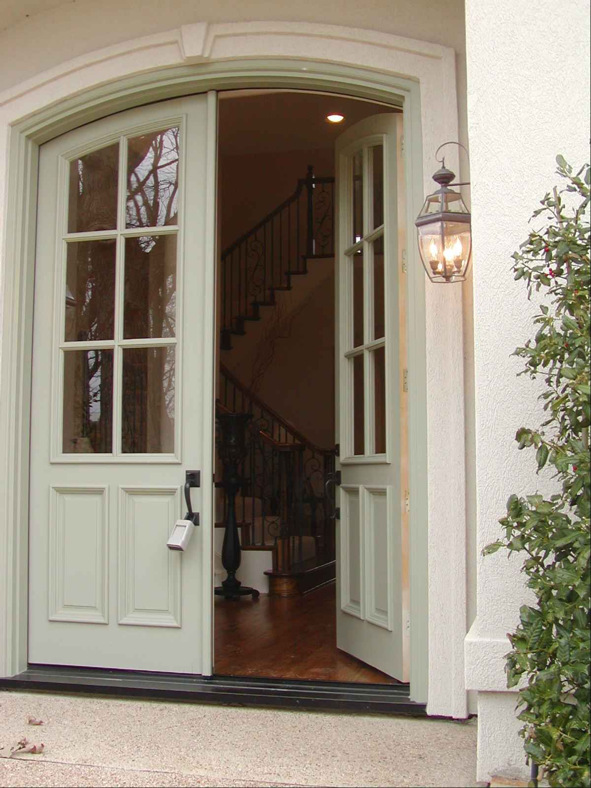 French Exterior: French Colonial Entry... Love The Double Door Entry