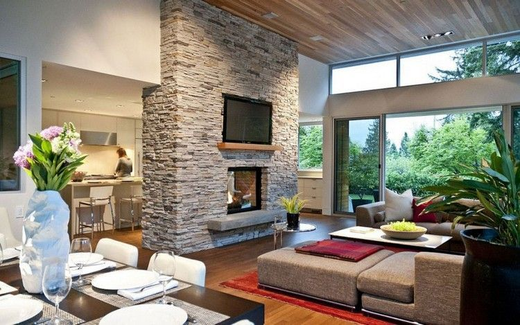 graue Verblendsteine verkleiden die Trennwand | wohnzimmer ...