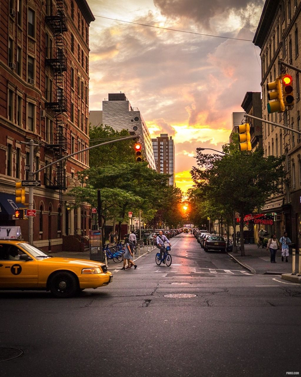 New York City Life At Sunset By Pwh3
