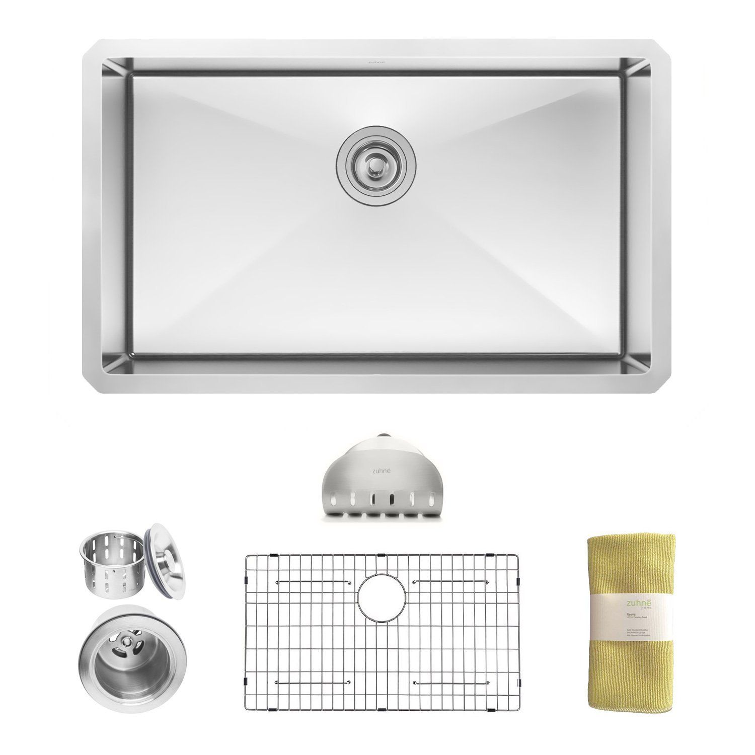 Zuhne Modena 30 Inch Undermount Single Bowl 16 Gauge Stainless Steel Kitchen Sink Amazon C Stainless Steel Kitchen Sink Stainless Steel Farmhouse Sink Sink