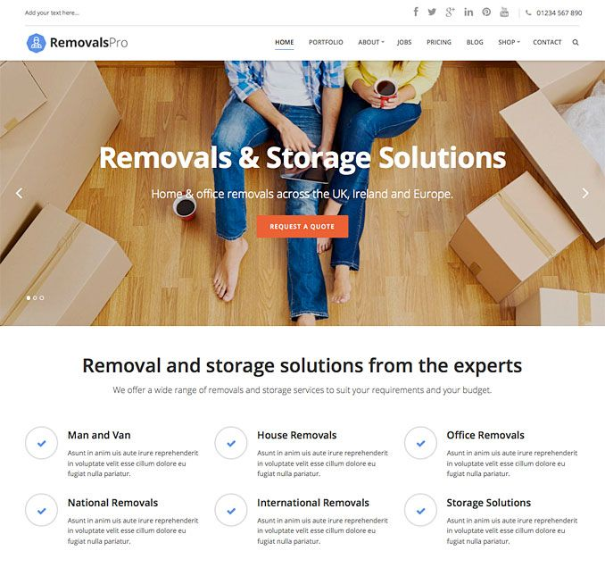 Removals Pro Responsive Wordpress Theme For Moving Companies Wordpress Theme Responsive Best Moving Companies Wordpress Theme