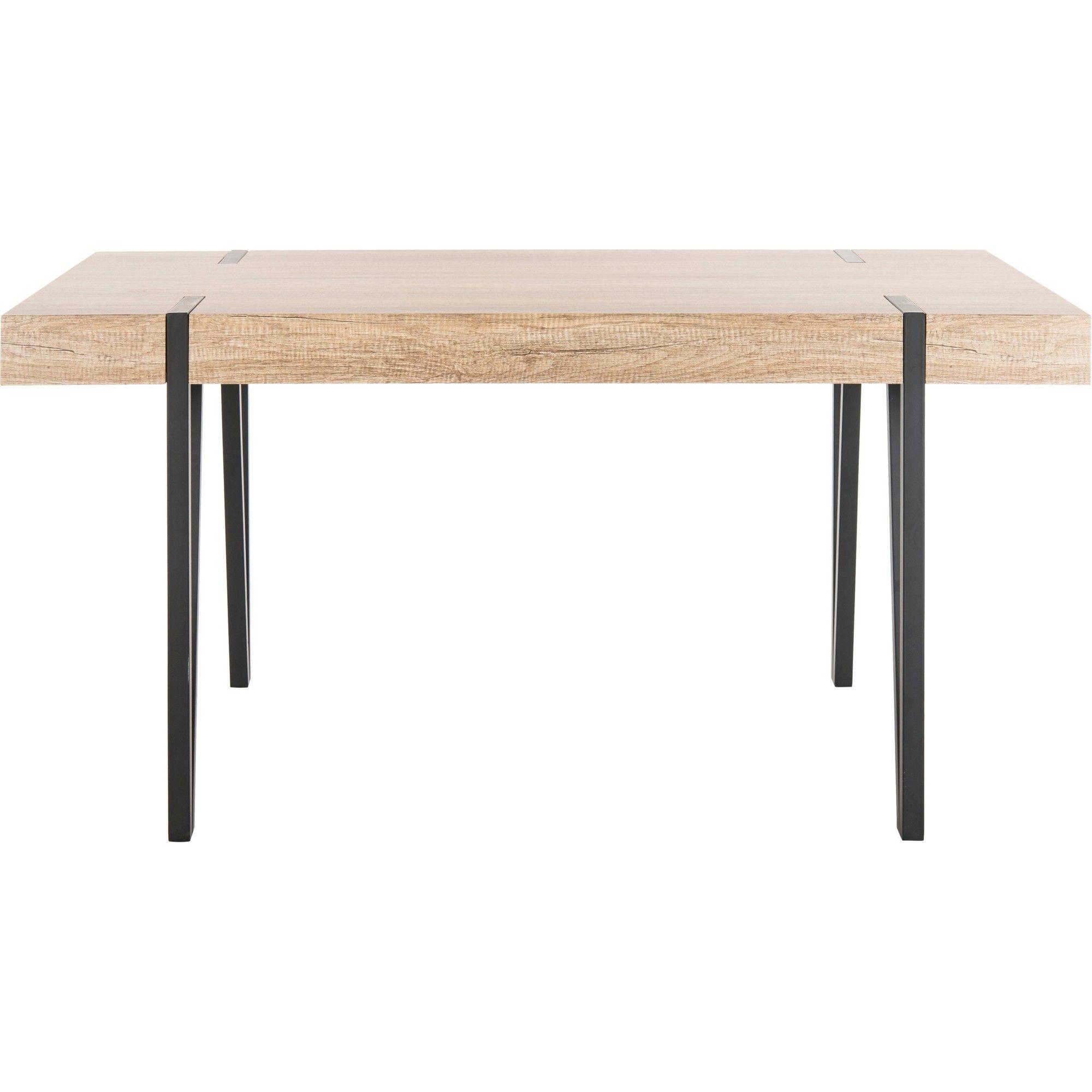 Alyssa Wood Top Dining Table Gray Safavieh Dining Table