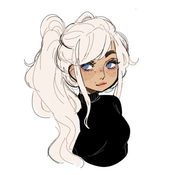 girl with white hair drawing
