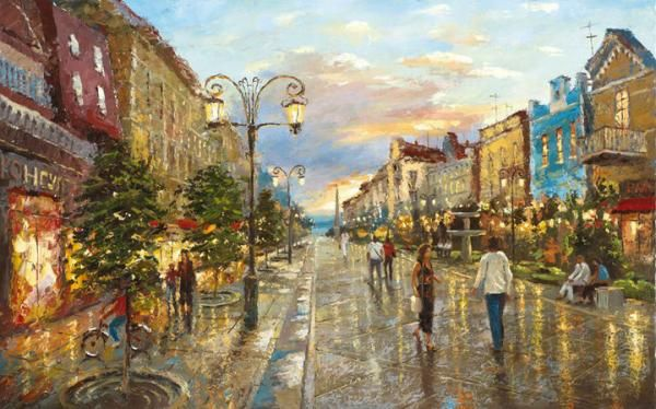 City Landscape Paintings By Dmitri Spiros Landscape Paintings City Landscape Landscape
