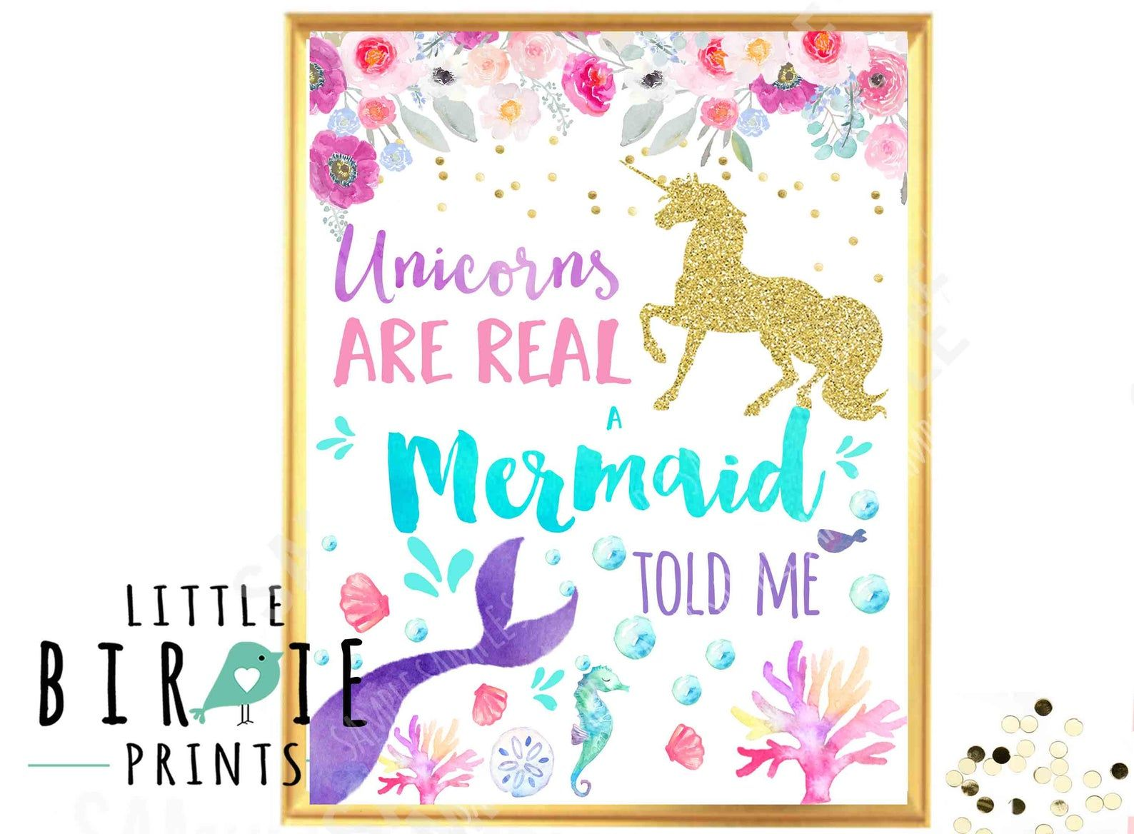 UNICORN MERMAID Party Sign Mermaid Party sign Unicorn Party sign Unicorns are real A mermaid Told me Watercolor Gold Unicorn - Party signs, Real unicorn, Mermaid sign, Unicorn party, Unicorn wall art, Mermaid party - littlebirdieprints ref hdr shop menu&search query mermaid+purple HOW TO ORDER 1  Purchase via Paypal 2  Item will come instant download to your email 4  Print on 8x10 and frame! Easy FREQUENTLY ASKED QUESTIONS 1  What is your turn around time  My turn around time is 48 hours from when you provide all the information for your invitation  Larger orders (with the matching party printables) are 72 hours  If I have a large volume of orders in a day this is subject to change  My shop is closed Sundays  If you'd like a rush order (under 24 hours) there is a listing for that in my shop called  Rush order add on  just add the invitation and Rush order items both in your cart and it will bump your item to the top of my list  2  How do I print, I don't get it  So you take the digital design of your invitation on a flash disk, or email it, or upload it to your printing services  If you want photopaper you print at a photo place just like you would any photograph  If you want cardstock then print at a  copy shop  like Kinkos, Office Max, Staples etc   Invitations print on 5x7 or 4x6 size, all other printables print on 8 5 by 11 cardstock  A copy shop works better if your getting other party items (banner, favor tags etc) 3  Do you offer printing services   To insure you receive your items in a timely manner since I am in South Africa, I only offer printable items  It just takes too long to ship to most of the world from here! 4  Do you offer discounted packages for your party printables  I offer alacarte items as well as party packages  Packages are  ESSENTIAL PACKAGE Regular price for a la carte items is $50, package deal is $36  Personalized and Printable Invitation  Happy Birthday Name Banner Cupcake Toppers  Favor tags  PREMIUM PACKAGE Regular price for a la carte is $80, discount price $49 for package Personalized and Printable Invitation Water Bottle Labels Favor tags Cupcake Toppers Door Sign Happy Birthday Name Banner Non personalized Buffet Cards Party Hats Fold over thank you's 4x6 size  (I can make more items such as menus and high chair banners etc, just inquire) 5  Can I change the colors  It's a lot of design time to change colors, ask me via email if I can accommodate your needs, a fee will apply  artwork by Art by papersphinx etsy com