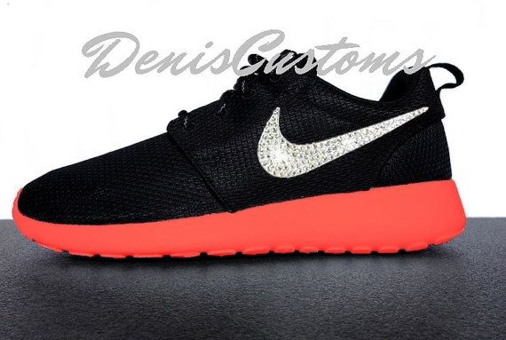 Nike Roshe Run Black Custom Red Sole Paint with Glitter Crystals Swoosh 8ab38629b6