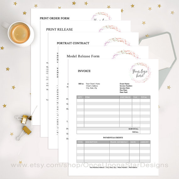 Photography Business Forms Bundle, EDITABLE, Portrait Contract - model release form in pdf