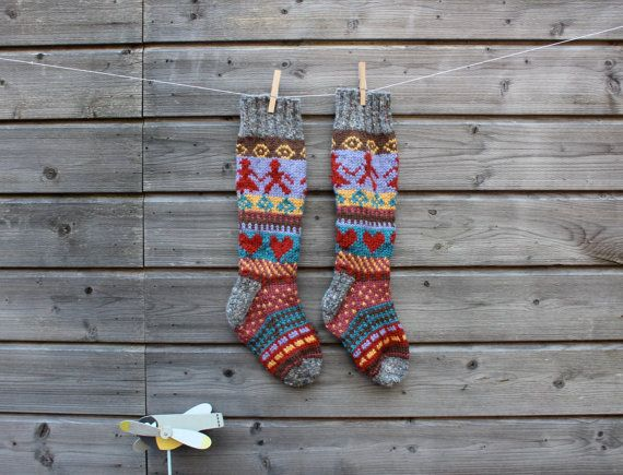 I love these beautifully patterned socks. Knitted in the ...