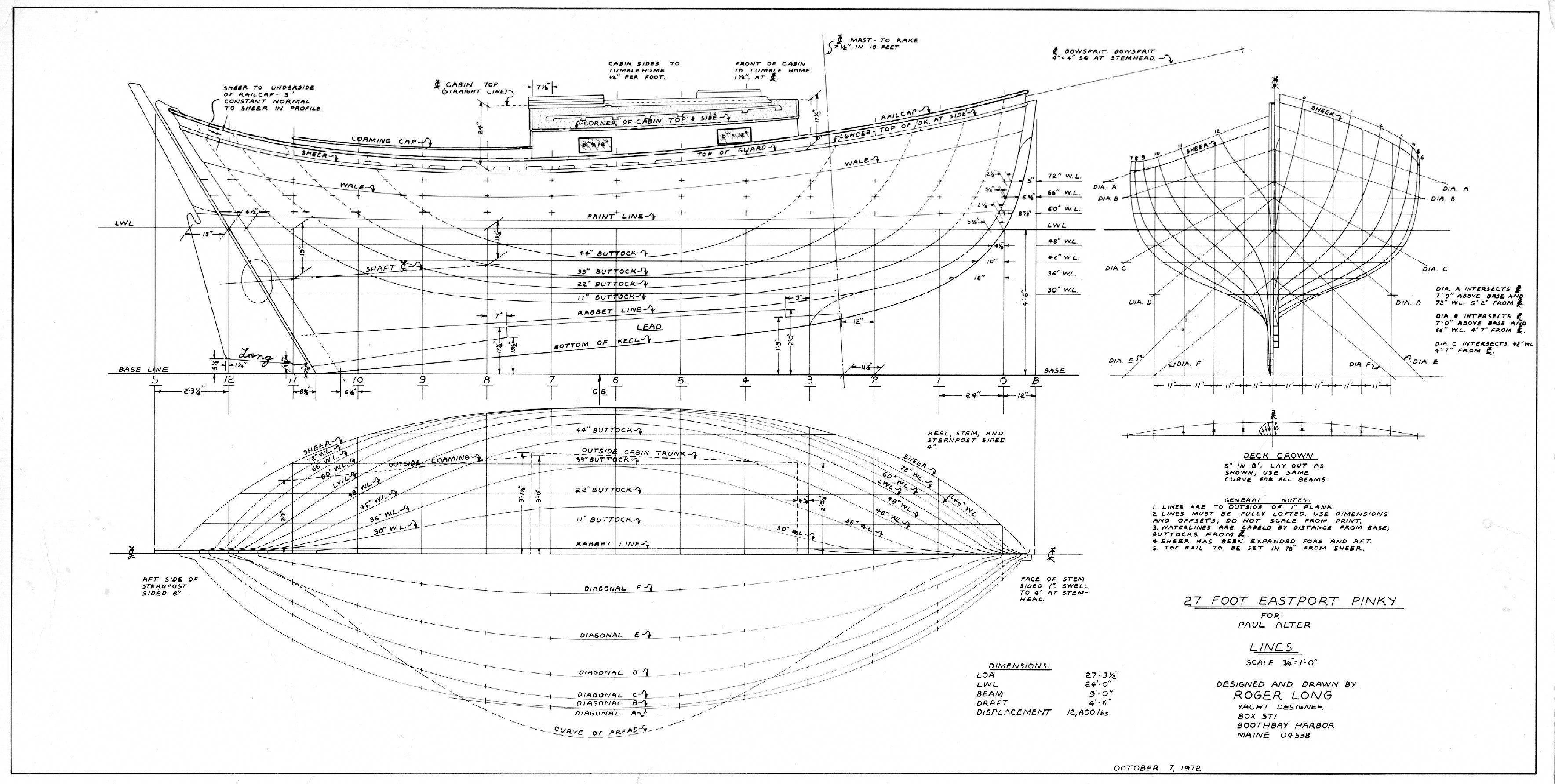 27 foot pinky sloop buildyourownboat [ 3537 x 1785 Pixel ]