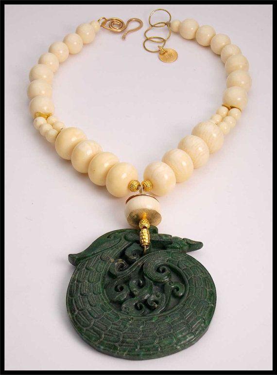 Sandra webster jade dragon handcarved jade pendant collar bijoux sandra webster jade dragon handcarved jade pendant collar aloadofball Image collections