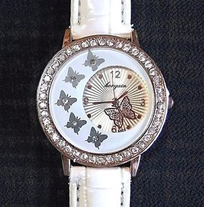 New rose gold white croc band butterfly bling watch ebay ladies new rose gold white croc band butterfly bling watch ebay gumiabroncs Image collections