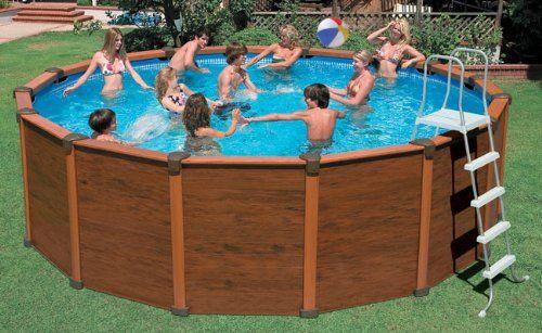 Above Ground Intex Sequoia Spirit Wood Grain Frame Pool Set Above Ground Swimming Pools Intex Pool Pool Cover