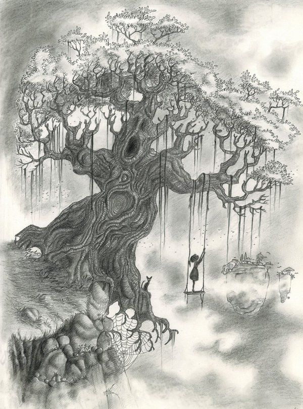 10 Beautiful Tree Drawings For Inspiration Hative Beautiful Drawings Tree Drawing Amazing Drawings