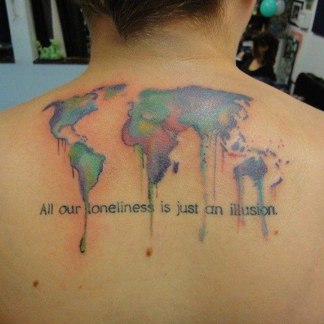 Watercolor world map drippy soft colors tattoo by matt lackey watercolor world map drippy soft colors tattoo by matt lackey gumiabroncs Choice Image