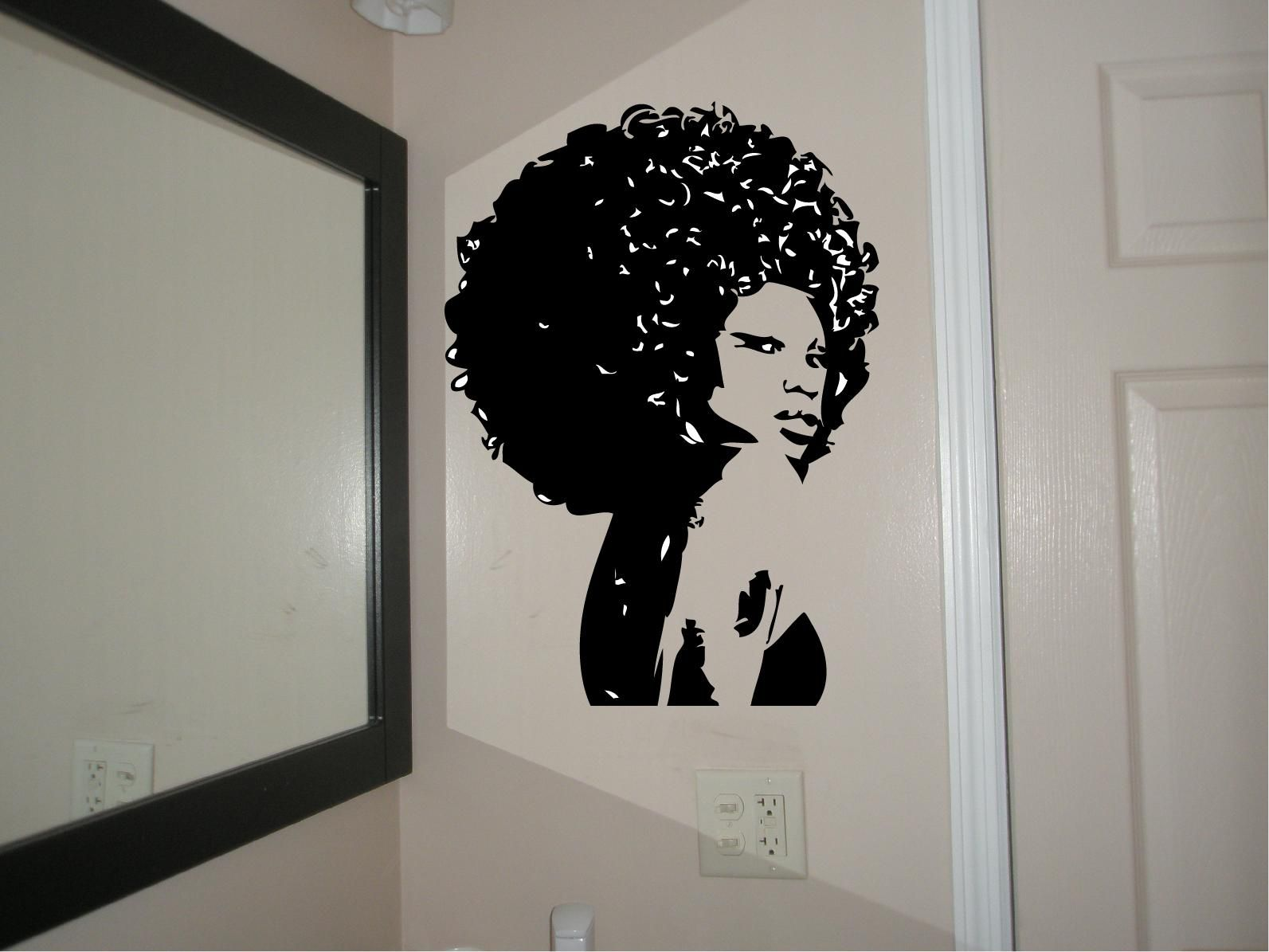 beautiful afro chic women housewares wall decal afro decal custom wood and acrylic laser cutting vinyl decals table numbers cake toppers and more