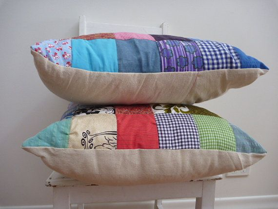 patchwork cushion in happenstance squares by thetexturedleafshop, $65.00