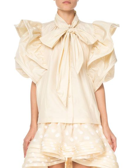 45805d59f999f3 Marc Jacobs Short-Sleeve Ruffled Taffeta Blouse in 2019 | JUST SOME ...