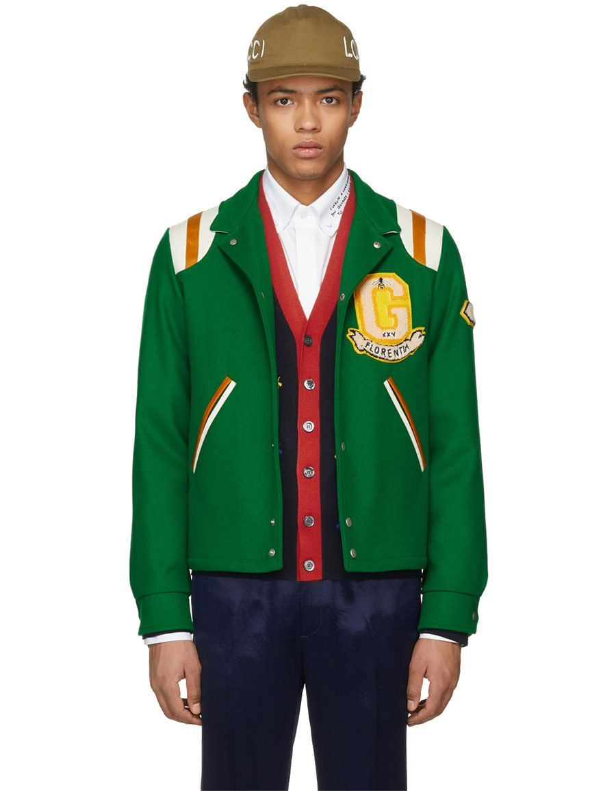 5f4a2eb41 b>GUCCI</b><br> Green 'Guccy' Tiger Felt Bomber Jacket in 2019 | Men ...