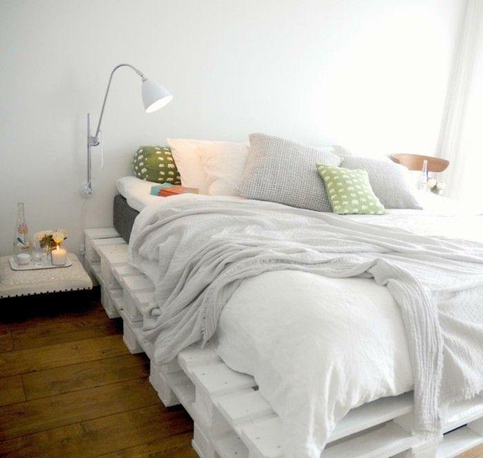 diy deko ideen bett selber bauen europaletten weiß schlafzimmer - schlafzimmer ideen wei