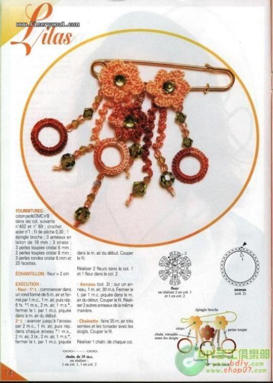 Patron Crochet Broche Imperdible - Patrones Crochet | bijouterie ...