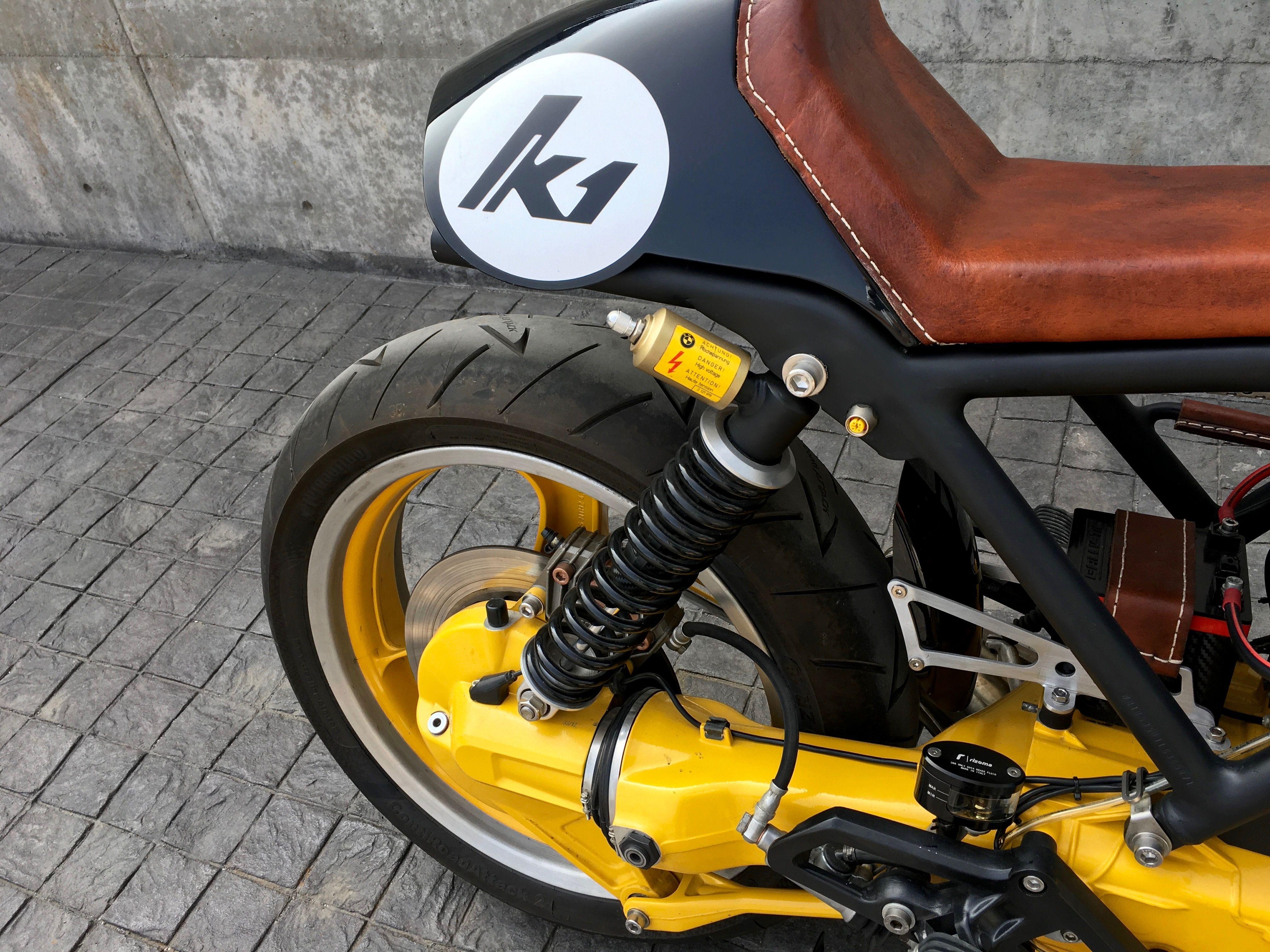 bmw k1 cafe racer, modified original rear suspension | bmw k1 cafe