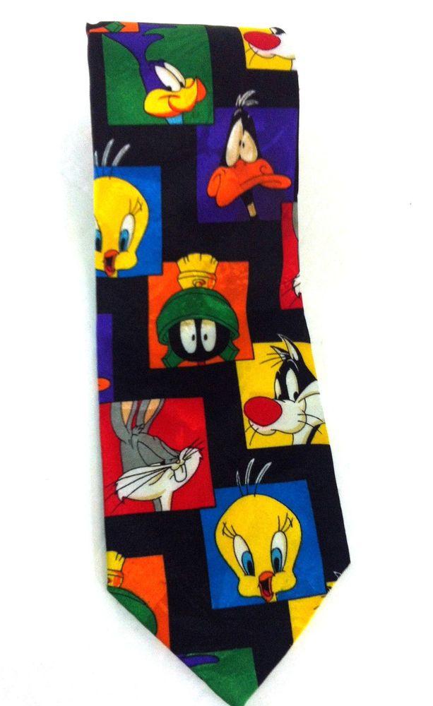 Looney Tunes Tie Necktie Bugs Bunny Tweety Road Runner Daffy Duck Sylvester  #Unknown #NeckTie