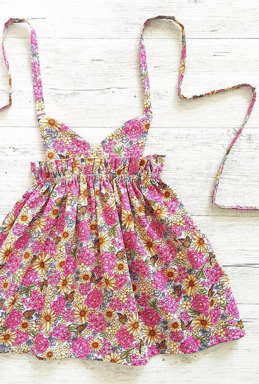 Handmade Floral Pinafore Dress | MissLylaBoutique on Etsy