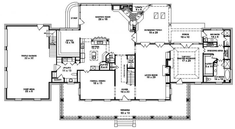 Louisiana plantation style house plan 1 5 story 4 for Plantation house plans