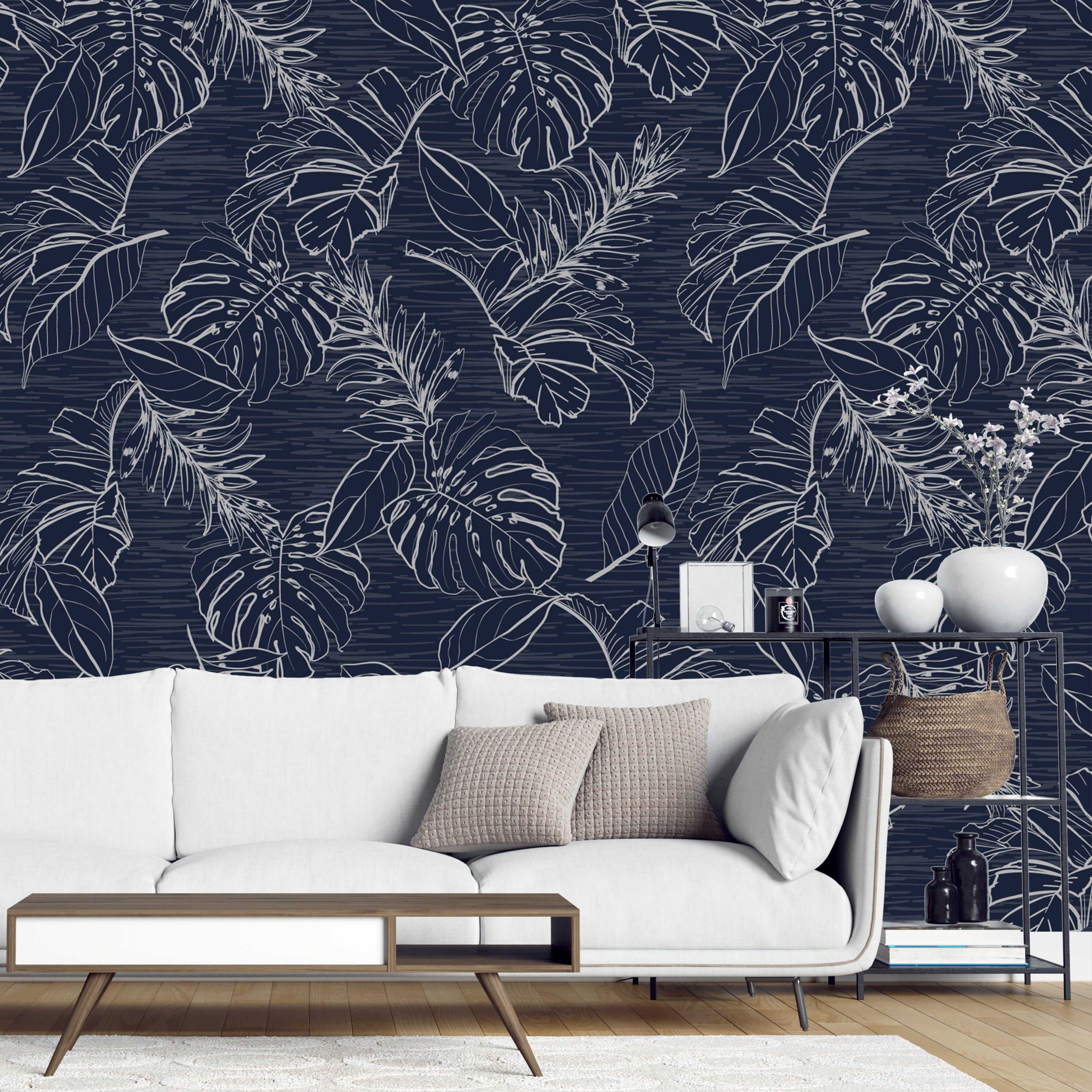 Peel And Stick Removable Wallpaper Dark Blue Monotone Etsy Removable Wallpaper Home Wallpaper Wallpaper Bedroom