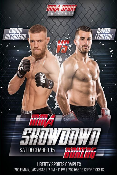 Mma Showdown Boxing Free Psd Flyer Template  HttpFreepsdflyer