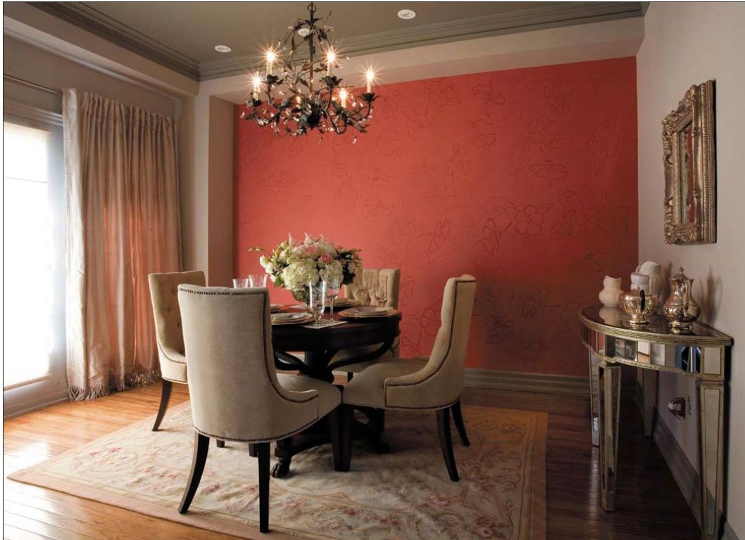 Accent Wall With A Tone On Stenciled Wallpaper Effect Benjamin Moore Dining