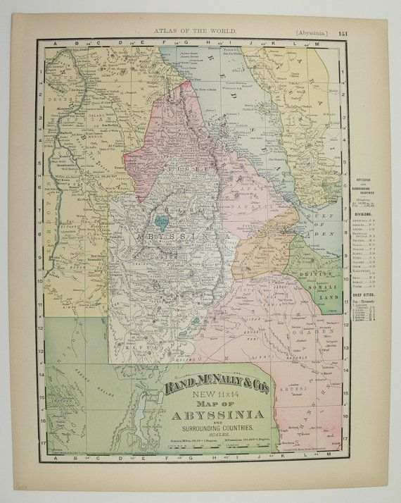 Antique Egypt Map Nubia Abyssinia Map 1898 Vintage Map Afar Eritrea