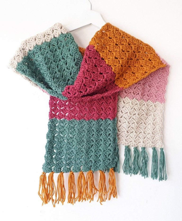 Crochet ColorBlock Scarf Easy Free Pattern (With images