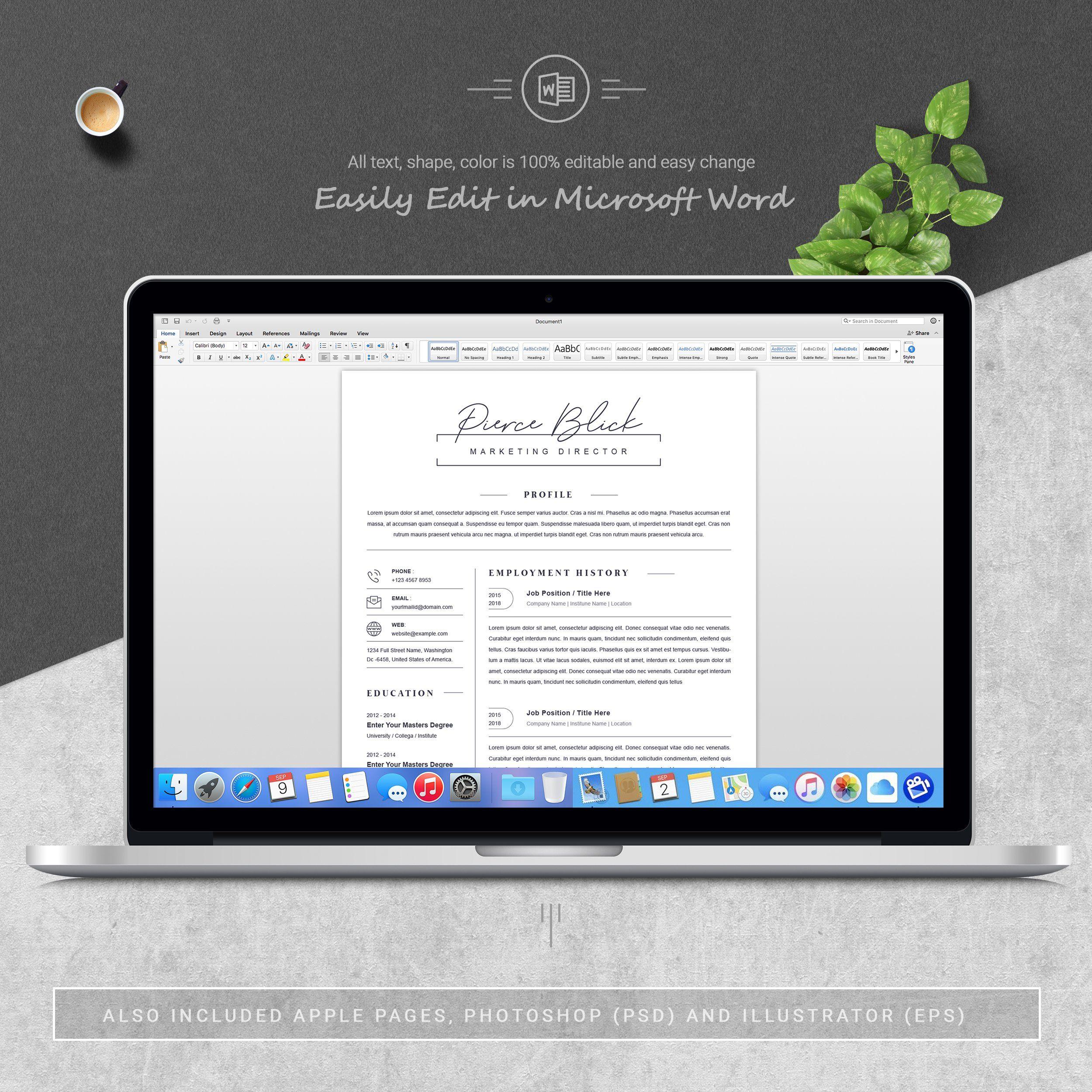 Clean Resume / CV Template Resume design, Resume