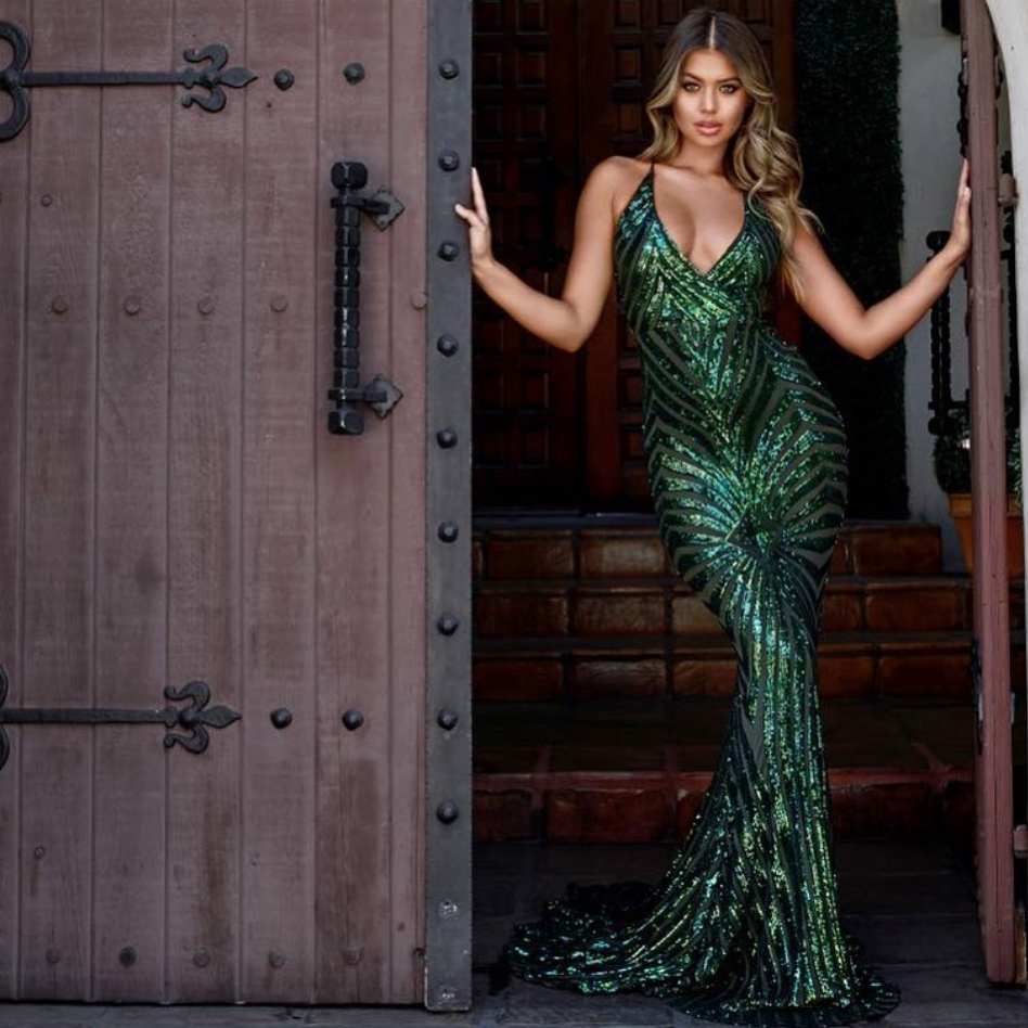 c48e27b5e9 The Valentina emerald green sequin gown Abyss by Abby Gowns, Prom ...